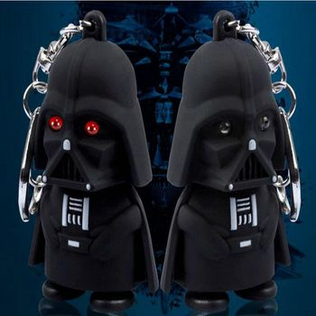 Film Süper Star Wars Darth Vader Kara Şövalye Stormtrooper Ses Ile Anahtarlık LED Işık Anakin Skywalker LED Key Finder